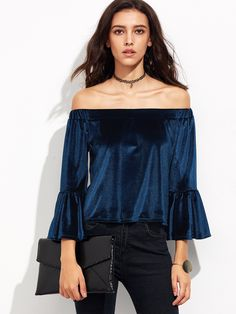 11$  Watch now - http://di1io.justgood.pw/go.php?t=8108 - Blue Off The Shoulder Bell Sleeve Velvet Blouse 11$