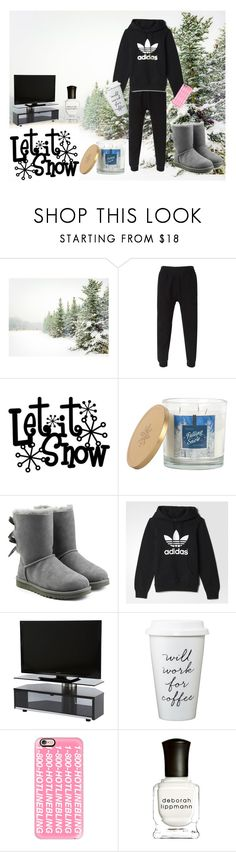 """""""Snow Day"""" by bellaclairecassedemont ❤ liked on Polyvore featuring Pottery Barn, adidas Originals, Sonoma life + style, UGG Australia, adidas, Casetify, Deborah Lippmann, women's clothing, women's fashion and women"""