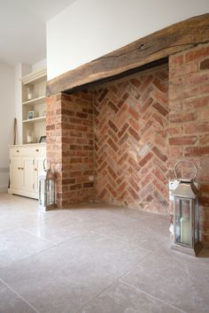 This neutral toned stone complements an array of colour schemes with its soft beige and light grey hues. The minerals, fossils and calcite veining evident in this stone make it a forgiving choice for both interior and exterior applications. Wood Stove Hearth, Wood Burner Fireplace, Cosy Fireplace, Inglenook Fireplace, Brick Fireplace, Fireplace Design, Brick Hearth, Log Burner Living Room, My Living Room