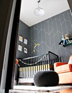 Yellow and Gray Arrow Nursery - fab accent wall!