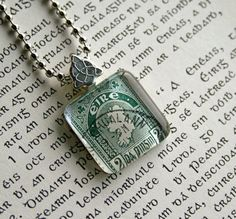 Ready to ship and free shipping!  Vintage Ireland postage stamp necklace, by CrowBiz.