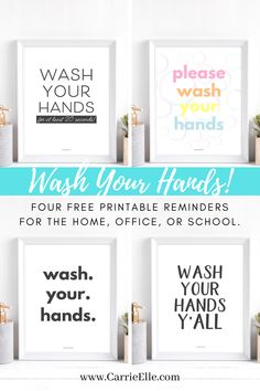 Wash Your Hands Printables for the home, office, schools, and restaurants from CarrieElle Meal Planning Printable, Printable Planner, Printable Wall Art, Free Printables, Staff Lounge, Rainbow Bubbles, Writing Prompts For Kids, Kids Writing, Inspiration Wall