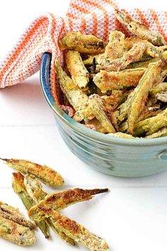 Oven-Fried Okra | In Sock Monkey Slippers