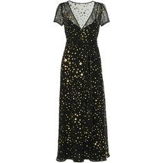 Red Valentino Star Print Silk Georgette Maxi Dress ($1,195) ❤ liked on Polyvore featuring dresses, black, v neck wrap dress, star dresses, star pattern dress, patterned maxi dress and print dress
