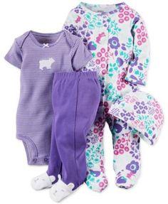 Carter's Baby Girls' 4-Piece Polar Floral Layette Set