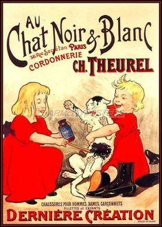 AU Chat Noir Blanc French Vintage Poster Art Print Kids and Cat Advertisement | eBay