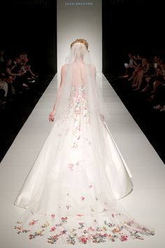 Sassi Holford floral blossom dress and veil from her 'Twenty 17' collection