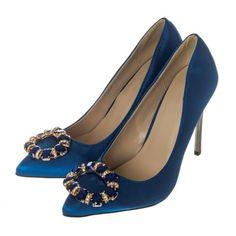 High Stiletto Satin Court Shoe With Broach Trim