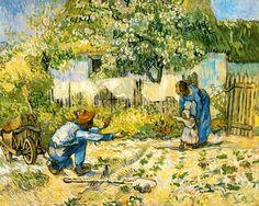first steps van gogh | Vincent Van Gogh >> First Steps (after Millet) | (Oil, artwork ...