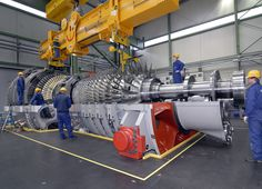 The gas turbine, developed by Siemens, is rated for a power output of 375 megawatts. Steam Turbine, Battersea Power Station, Aircraft Design, Steam Engine, Mechanical Engineering, Cnc Machine, Building, Oil Industry, Reference Images