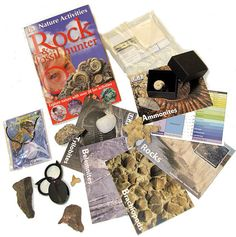 $ 27.39 :: Childrens Rock & Fossil Set :: Very special pack put together by ourselves especially for kids: 9 lovely specimens :: Dinosaur Poo Necklace :: Tumblestone :: Granite :: Ammonite :: Shark tooth :: Dinosaur Bone :: Rock Crystal :: Sedimentary Rock :: Coral :: :: Includes Fantastic book, field lens, streak plate & 5 cards. This pack has been chosen to follow the Activities in the book.