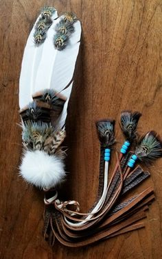 Your place to buy and sell all things handmade American Indian Art, Native American Fashion, Native American Art, Rooster Feathers, Turkey Feathers, Feather Painting, Feather Art, Native Beadwork, Indian Beadwork