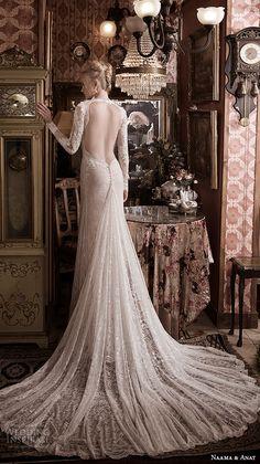 naama anat fall 2016 bridal dresses gorgeous sheath wedding dress long sleeves deep plunging neckline style fabulous open keyhole back