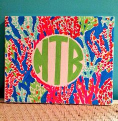 Lilly Pulitzer inspired monogrammed canvas by MeredithsMonograms, $15.00