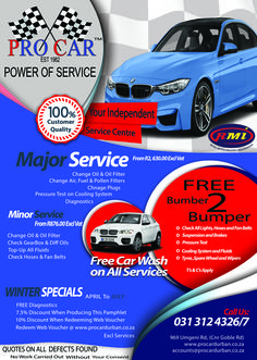Come on in to Pro Car today and recieve these benefits!!   we service multiple brands and multiple models of almost any vehicle. Call us on 031 312-4326 or visit our website at www.procardurban.co.za