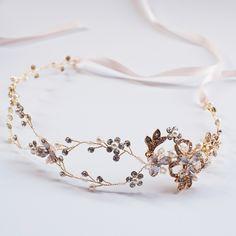 Gold Wedding Tiara Pearl And Rhinestone Hair Vine Bridal Headpiece Forhead Headband Crown Brides Hair Accessories