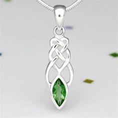 Sterling Silver Celtic Knotwork & Green Glass Pendant