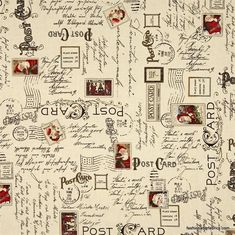 Dear Santa Text and Postmarks on Ecru by J Wecker for Quilting Treasures 22618-E