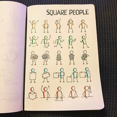 drawing square people! Great for doodle note-taking