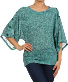 Look at this Heather Jade Button Cape-Sleeve Top on #zulily today!
