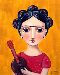 Frida Kahlo - Cute Folk Art by Claudia Garcia