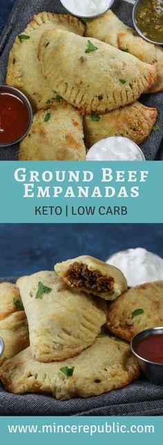 Ground Beef Empanadas Recipe | #keto and #lowcarb recipe for empanadas! | mincerepublic.com Paleo Ground Beef, Ground Beef Slow Cooker, Recipes For Ground Beef, Ground Beef Dinner Ideas, Keto Recipe With Ground Beef, Meals To Make With Ground Beef, Ground Beef Meals, Empanadas Recipe Dough, Easy Empanada Recipe