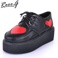 Women Girls Black Lace Up Punk High Heels Goth Platform Flat Creeper Shoes  Heart shape US SIZE4-8.5 on AliExpress.com. $35.99