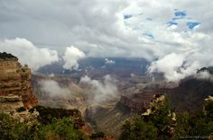 Monsoon clouds drift in Grand Canyon seen from the North Rim. http://geogypsytraveler.com/2014/08/06/marvelous-monsoon-day-grand-canyon/