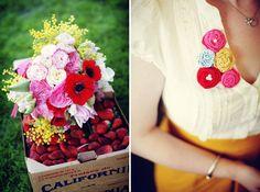 Roselyn + Ben& Strawberry Farm Wedding via Green Wedding Shoes. Farm Wedding, Wedding Blog, Wedding Day, Wedding Stuff, Strawberry Farm, Southern Bride, Pretty Flowers, Blue Flowers, Whimsical Wedding