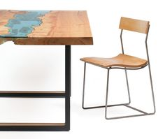 Wood Tables Embedded with Glass Rivers by Greg Klassen0