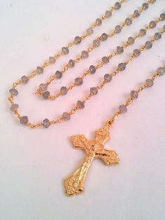 22 Labradorite Gold Rosary Necklace Womens by divinitycollection, $89.00