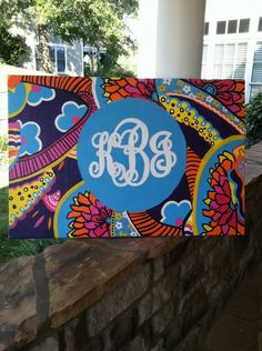 Lilly Pulitzer Print Inspired Monogrammed Canvas. $85.00, via Etsy.  Too cute and this girl can take just about any pattern and put it on canvas!