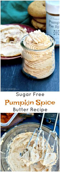 Sugar Free Pumpkin Spice Butter whipped, and then flavored with pumpkin puree and a dash of Fall spices!Add to bagels, toast or in your bulletproof coffee! #PumpkinSpice #Recipe #Butter