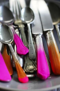 antique silverware dipped in color