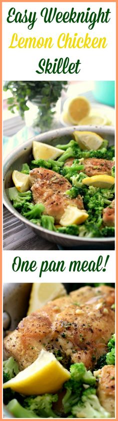 Lemon Chicken Skillet - One pan meal! Paleo, Gluten Free, Easy weeknight lemon chicken skillet with broccoli and a delightful garlic lemon pan sauce! Whole Food Recipes, Cooking Recipes, Healthy Recipes, Easy Gluten Free Meals, Whole 30 Chicken Recipes, Easy Paleo Dinner Recipes, Easy Whole 30 Recipes, Advocare Recipes, Atkins Recipes