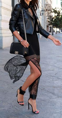 Street style chic....Leather and Lace Street Chic