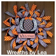 Welcome Halloween Ribbon Wreath