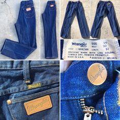 "a315e92d Vintage Wrangler Jeans 13MWZMR High Waist USA Sz 16 32 Measure 31"" X 32 3/4"""