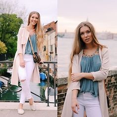 Triinu Ollema - Lindex Shirt, Lindex White Jeans, Sheinside Trench, Lindex Espadrilles - In Venice with my love