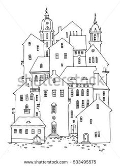 Cartoon hand drawing houses, vector illustration