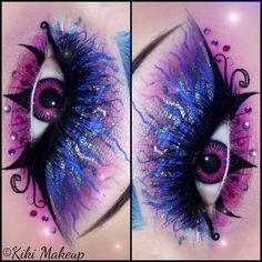 Artistic purple, black and blue fantasy eye make-up :)