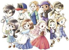 Harvest Moon: (More) Friends of Mineral Town Bachelors & Bachelorettes. Harvest Moon Fomt, Otaku, Rune Factory, Video Game Art, Video Games, Moon Lovers, Moon Art, Anime Chibi, Manga