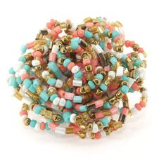 Charm Colorful Seed Beads Rose Flower Ring 15inch by meetlyluck, $4.50