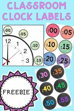 Check out these FREE clock labels for your classroom. Three designs included: watercolour, chalkboard and cacti/succulents which include increments and the 24 hour time labels. Ideal to brighten your classroom decor or to support teaching time to Classroom Clock, 2nd Grade Classroom, Third Grade Math, New Classroom, Classroom Displays, Classroom Organization, Classroom Decor, Second Grade, Classroom Labels