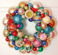 Vintage Ornament Wreath...could also do all red with silver accents for a more put-together look.