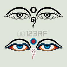 Yeux de Bouddha Les yeux de Bouddha Yeux bouddhistes illumination symbole de la sagesse N pal Banque d'images