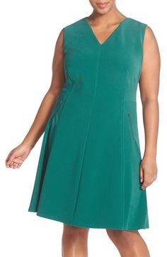Halogen® Zip Pocket V-Neck A-Line Dress (Plus Size) available at #Nordstrom