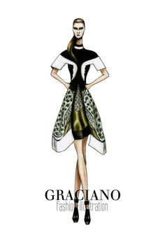 GRACIANO fashion illustration: Peter Pilotto A/W 2013 #LFW