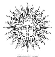 Sun with Face of God Apollo or Helios – Decorative Symbols Decorative Sonne mit Antlitz Gottes Apollo oder Helios – Dekorative Symbole Dekorativ Kunst Tattoos, Body Art Tattoos, Maori Tattoos, Small Tattoos, Tattoo Sketches, Tattoo Drawings, Apollo Tattoo, Gott Tattoos, Greek God Tattoo