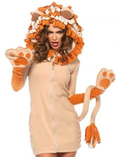 One piece fleece Lion Costume Dress Cozy Lion, features zipper front fleece dress with paw gloves, attached long tail, and curly mane hood. Unique Couple Halloween Costumes, Animal Halloween Costumes, Unique Costumes, Adult Costumes, Costumes For Women, Woman Costumes, Adult Halloween, Funny Halloween, Cosplay Costumes